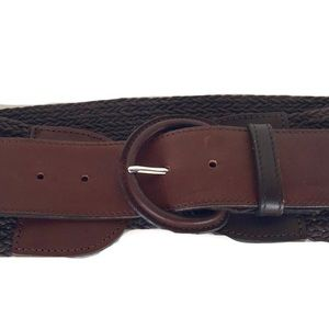 Banana Republic Leather & Woven Straw Belt